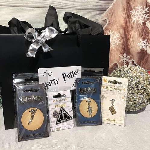 Harry Potter Gift Set - 3 Slider Charms &  1 Pin Badge - A9