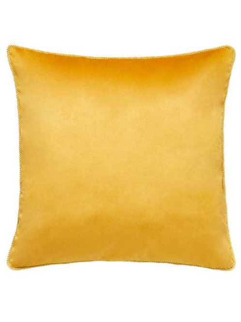 Joe Browns Jumbo Velvet Reversible Cushion - Mustard / Navy