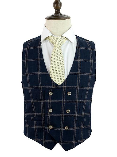 Cavani Hardy Navy Check Waistcoat