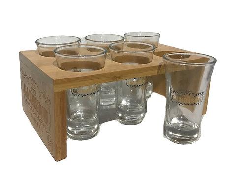 Peaky Blinders Shot Glass Set - Wooden Holder