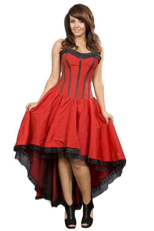 Burleska Monroe corset dress in red taffeta