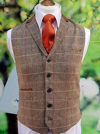 Cavani Baron Tweed Tan Waistcoat