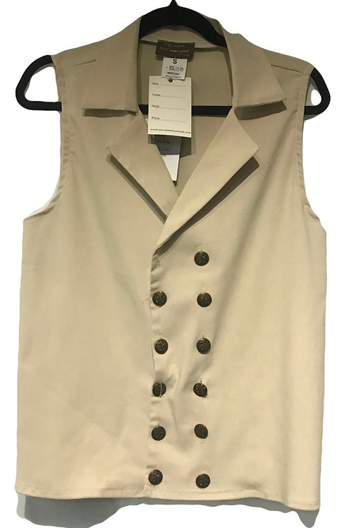 Steam Punk Cream Double Breasted Waistcoat