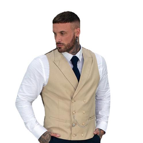 Cavani Lennox Beige Double Breasted Men's Waistcoat