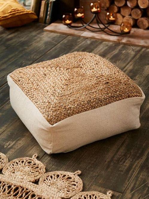 Cotton Jute Floor Cushion / Footstool