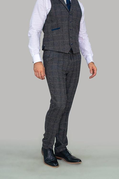 Cavani Albert Grey Tweed Check Trousers