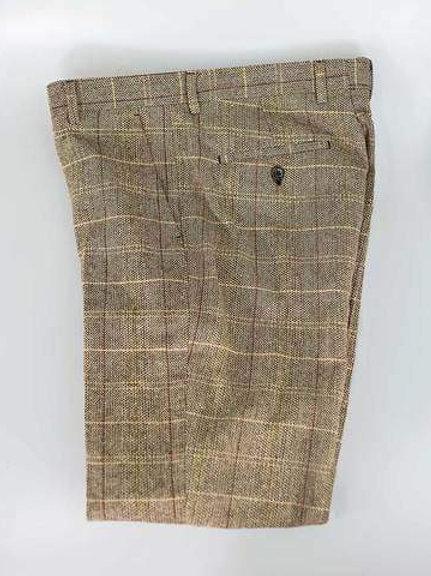 Cavani Baron Brown Tweed Check Trousers