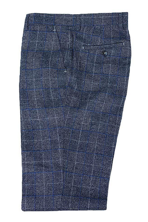 Cavani Miles Navy Blue Tweed Check Trousers