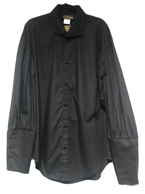 Steam Punk Dandy Deep Button Black Shirt