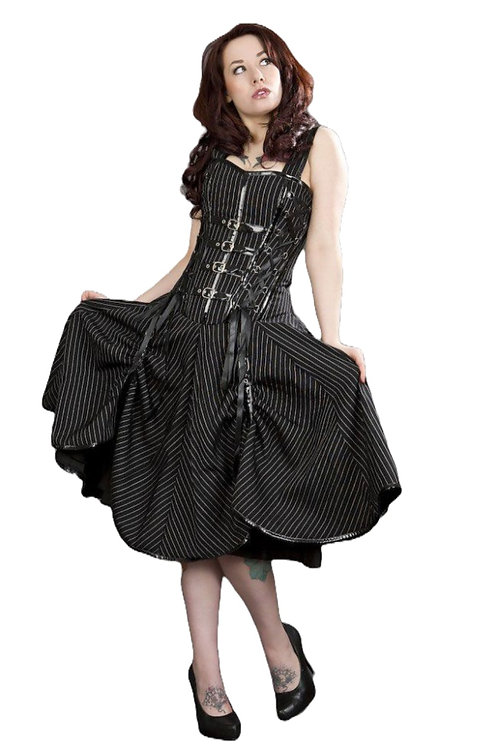 Burleska Dominatrix punk rock corset dress in black and white stripes