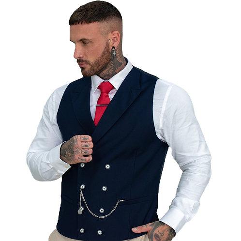 Cavani Lennox Navy Double Breasted Men's Waistcoat