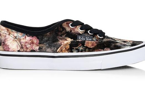 Ruby Shoo Nicole Lace up canvas shoe in Black Floral