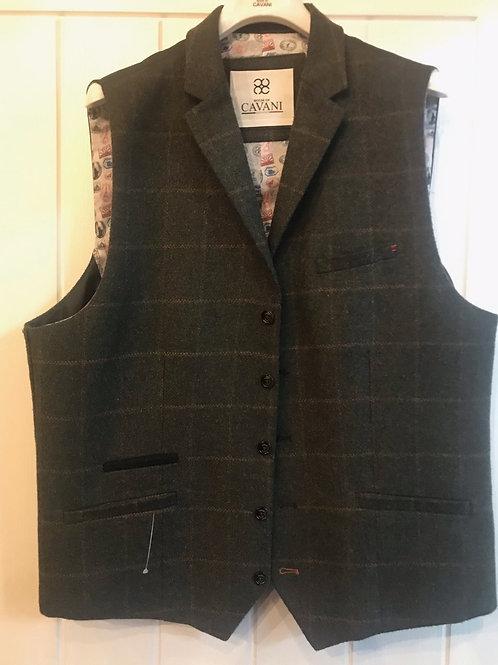 Cavani Kemson Olive Check Tweed Waistcoat