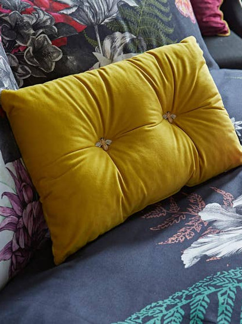 Bee Button Velvet Cushion