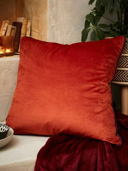 Joe Browns Jumbo Velvet Reversible Cushion - Rust / Orange