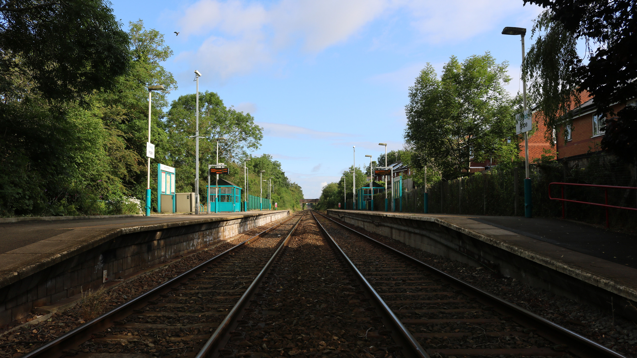 Looking north from the crossing at Hope (Flintshire)
