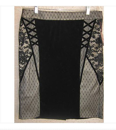 TRIPP NYC Black and Ivory Lace Skirt