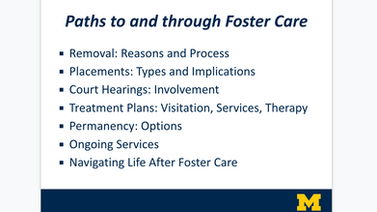 Powerpoint Slide. Paths to and through Foster Care. Removal, placements, court hearings, treatment plan, permanency, ongoing services, navigating life after foster care.