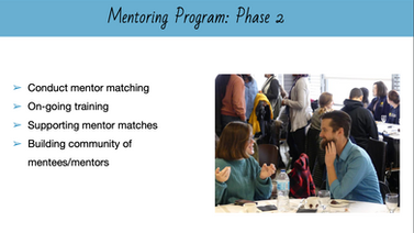 Powerpoint Slide. Mentoring Program Phase 2, conduct metnor matching, on-going training, supporting mentor matches, building community of mentees/mentors. Photo of two people - mentor and mentee - talking.