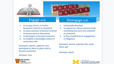 Powerpoint Slide. Engage and Disengage. Words Matter.