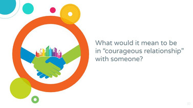 """Powerpoint Slide. What would it mean to be in """"courageous relationship"""" with someone?"""