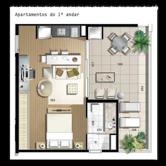68 m² - 1 vaga na garagem, 1 suíte