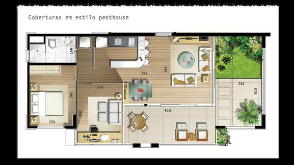 80 m² - 2 vagas na garagem, 1 suíte