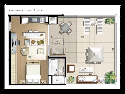 47 m² - 1 vaga na garagem, 1 suíte