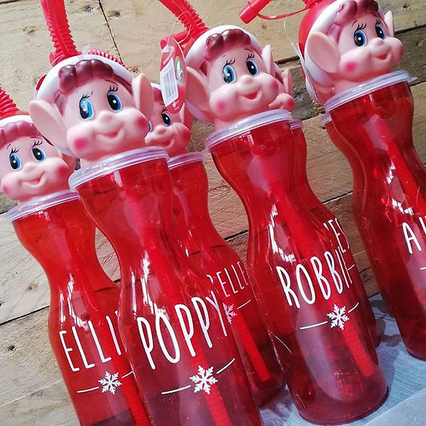 Personalised Christmas elf drinks bottle