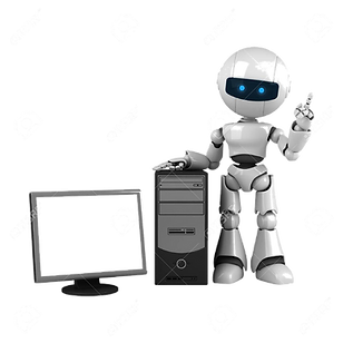 10065211-funny-white-robot-stay-with-com