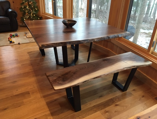 Black Walnut Live Edge Table and benches