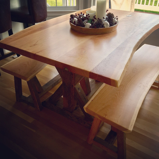 Cherry Live Edge Dining Table with Bench