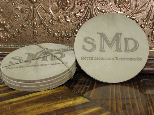 South Mountain Distilling Co. Leather Coasters