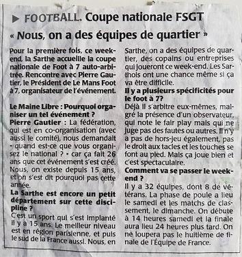 Article de presse - Le Maine libre 2016 Coupe Nationale FSGT