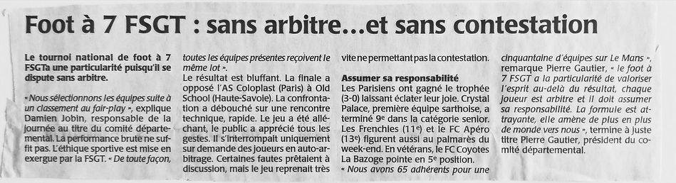 Article de presse - Ouest France 2016 Foot à 7 FSGT