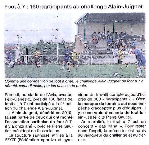 Article de presse - Tournoi Alain Juignet 2014
