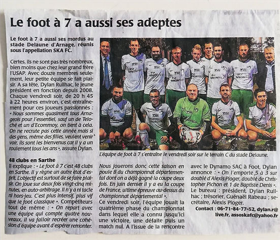 Article de presse - SKA FC Arnage Foot à 7 2008
