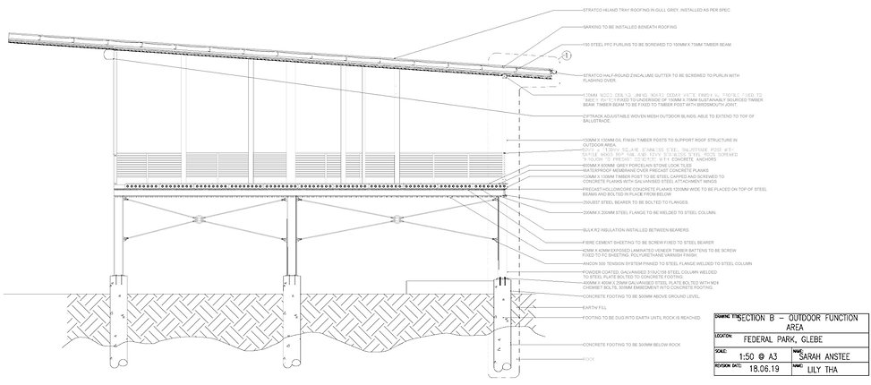 elevated main function room section detail