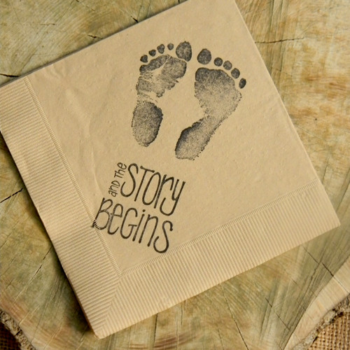 The Story Begins Footprint Napkins