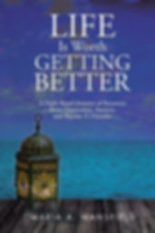 Book cover shows the ocean, a pier and a lanten on the pier. Also has the book title