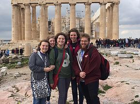 Submitted photo  Veritas Academy students, from left, Mallory Hampton, TaraJane House, Charity Wagnon, Emily Auel and Ben Duncan are pictured while sightseeing in Italy this spring.