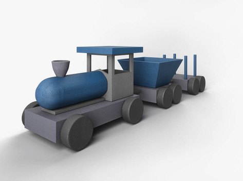 Elementary 3D modeling course Train rend