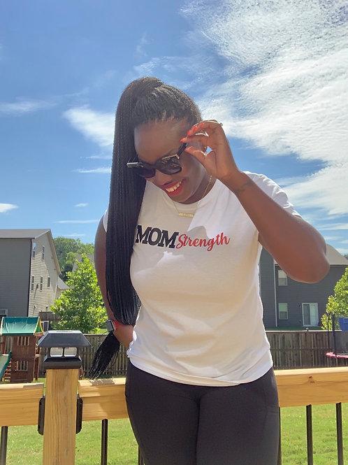 White Mom Strength T-Shirt