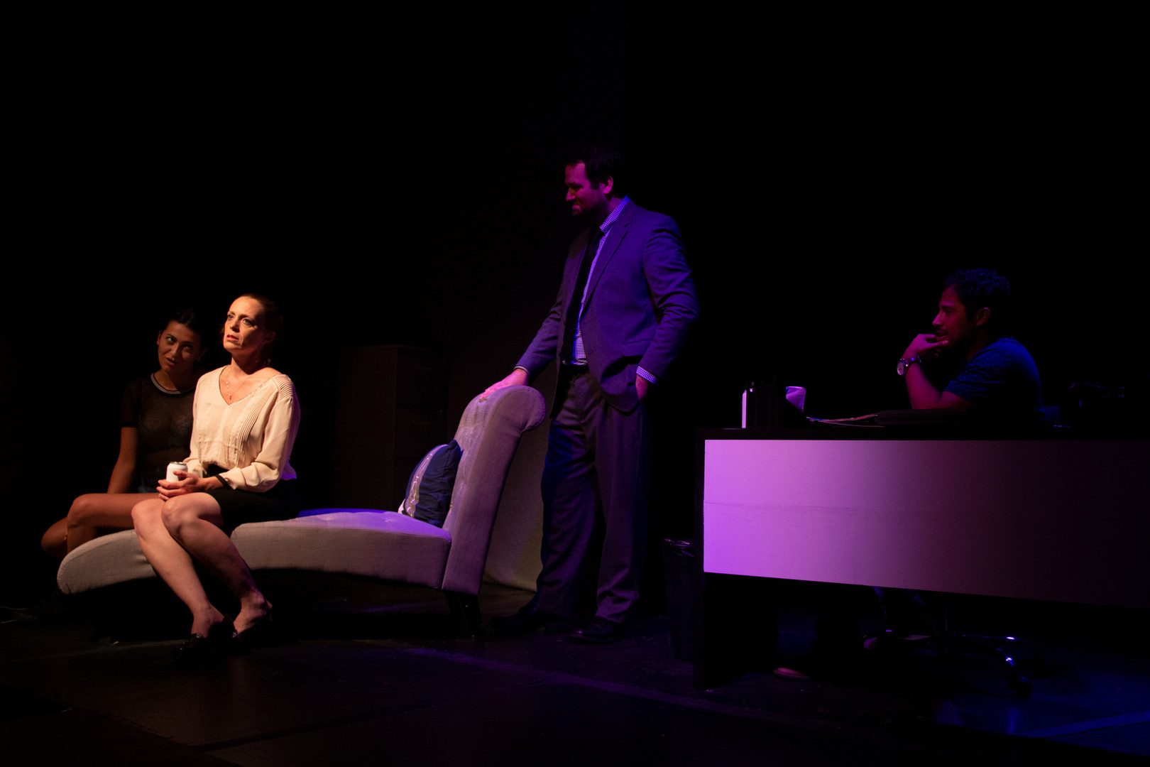 Hank Morris as Elizabeth,  Rene Ramirez III as James, Becky Granger as Alex, and Tyler Weaver as William in JERK, 2017.