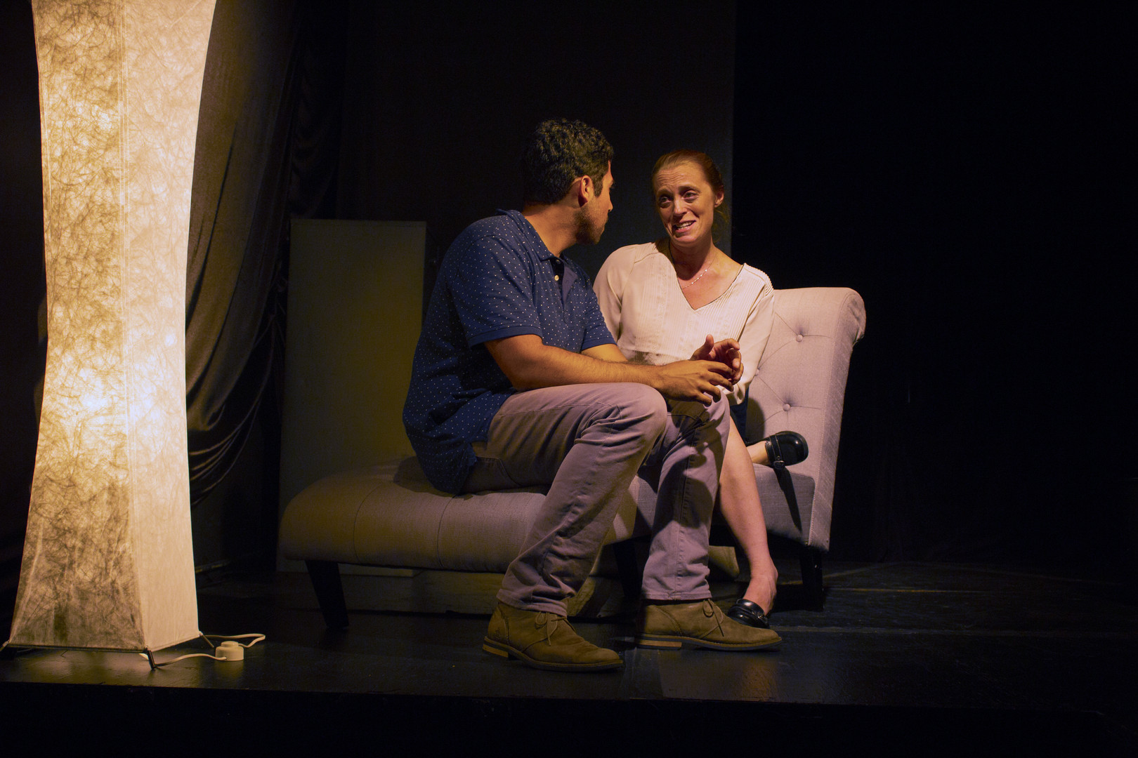 Hank Morris as Elizabeth and Rene Ramirez III as James in JERK, 2017.