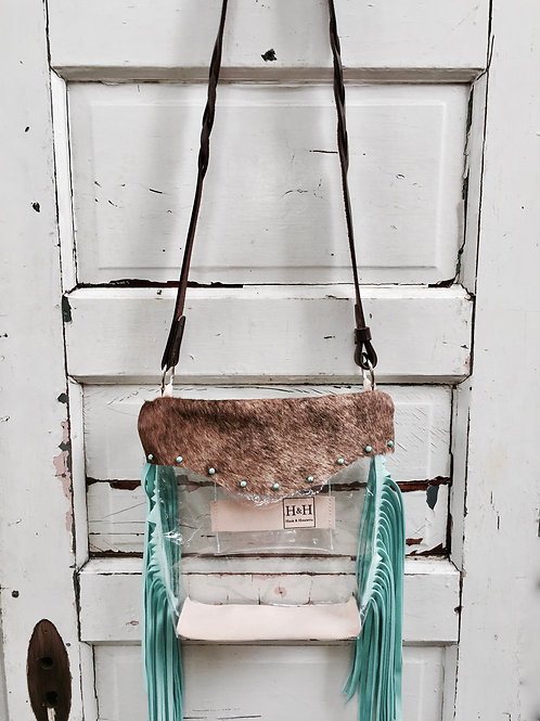 Hetty Clear Stadium Bag Policy Approved, Brindle & Turquoise Fringe