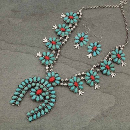 Squash Blossom Turquoise & Coral Colored Necklace