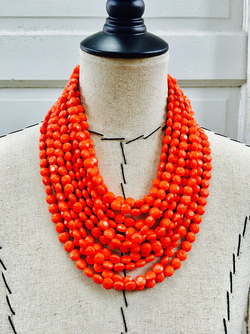 Layered Beaded Statement Necklace - Orange