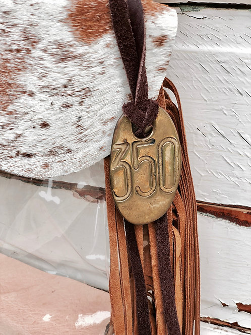 Add on Vintage Brass Cow Tag to Hand Bag