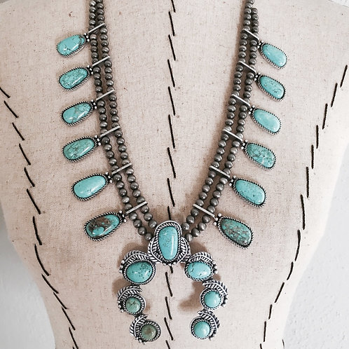 Squash Blossom Turquoise Colored Necklace